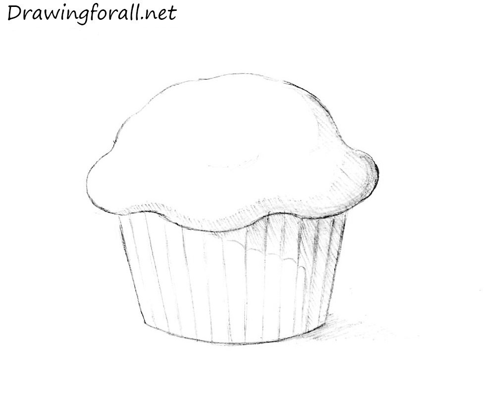 how to draw muffin step by step