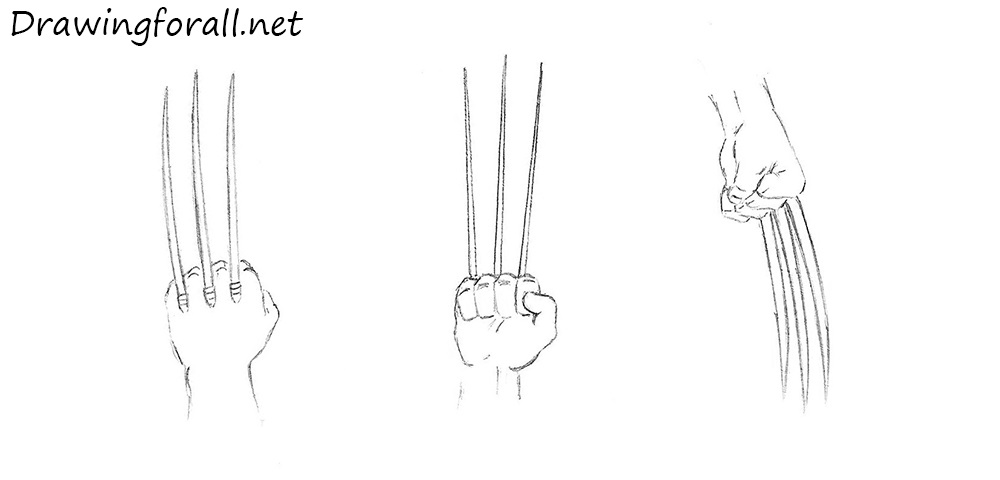 how to draw wolverine's claws step by step