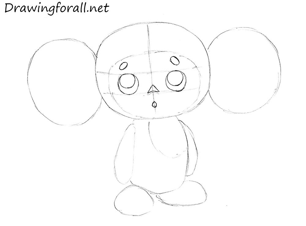cheburashka pencil drawing