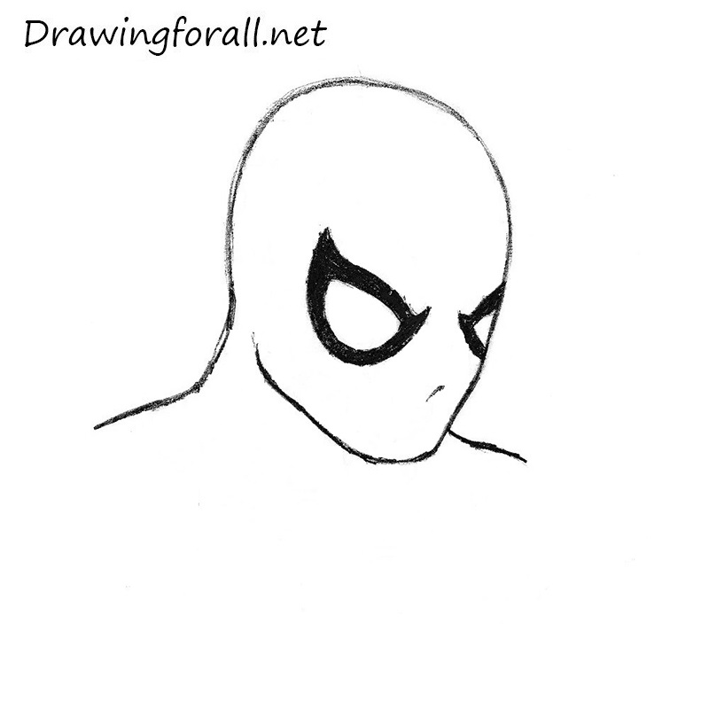 how to draw Spider-Man's head step y step