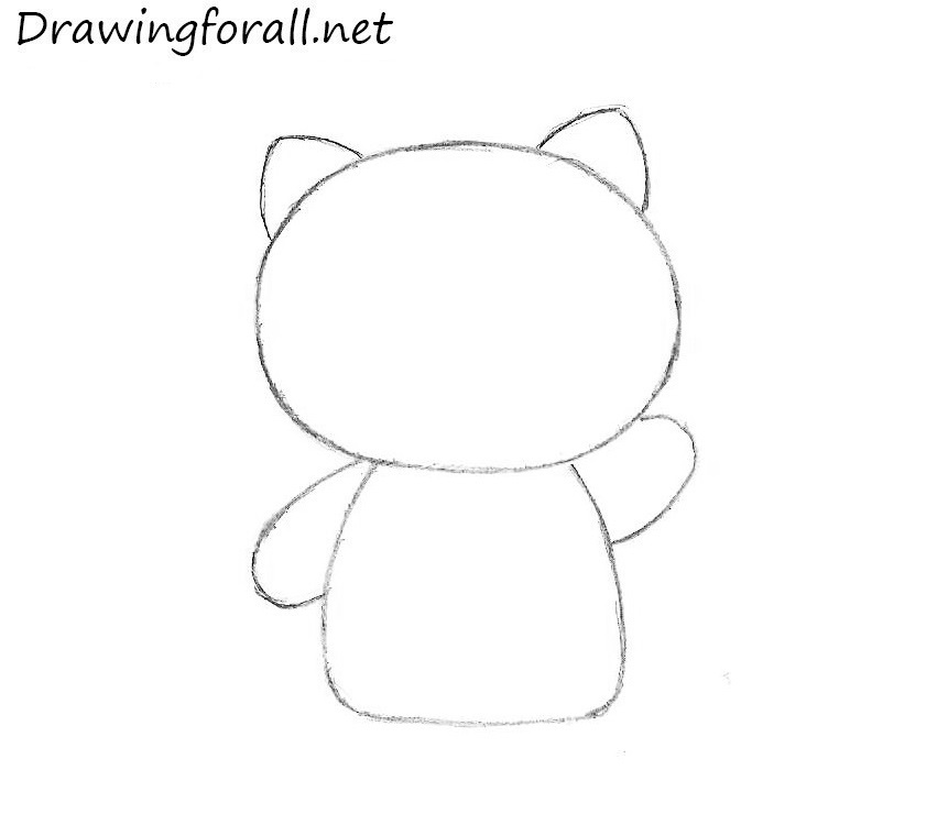 how to draw hello kitty whole body