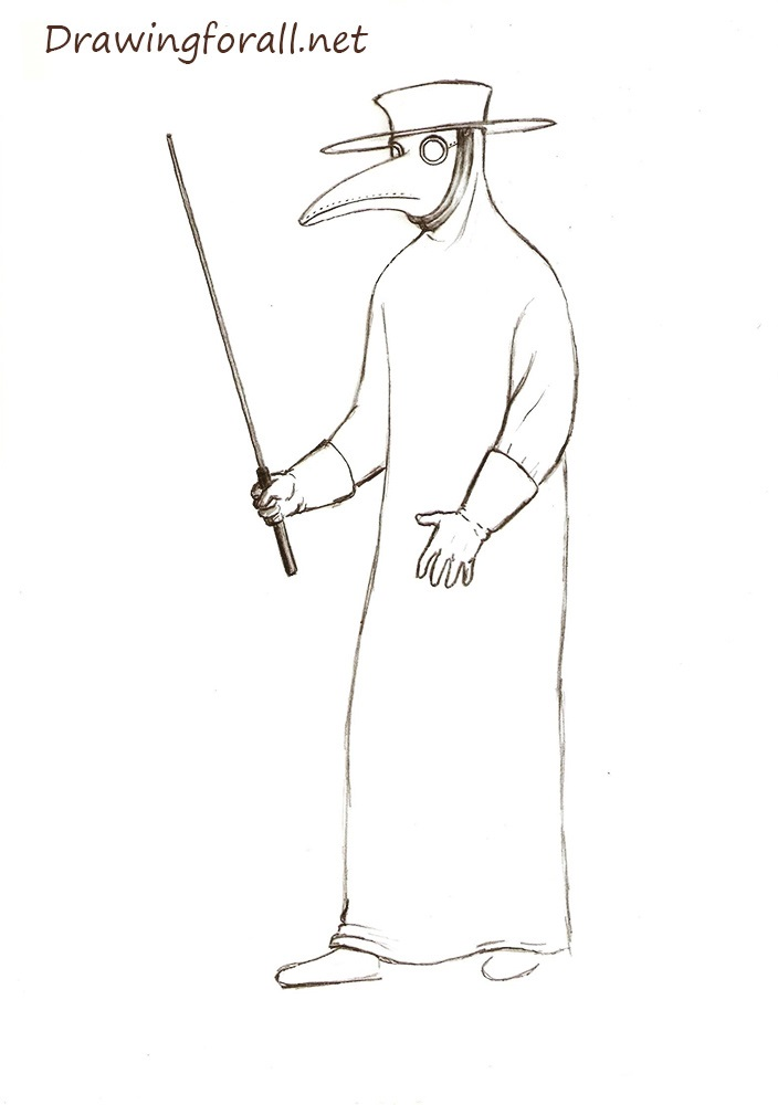 How to Draw a Plague Doctor step by step