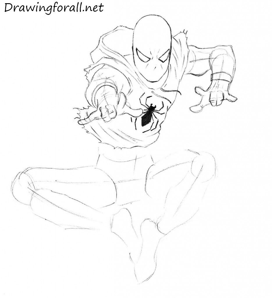 How to Draw Ben Reilly  the Scarlet Spider step by step