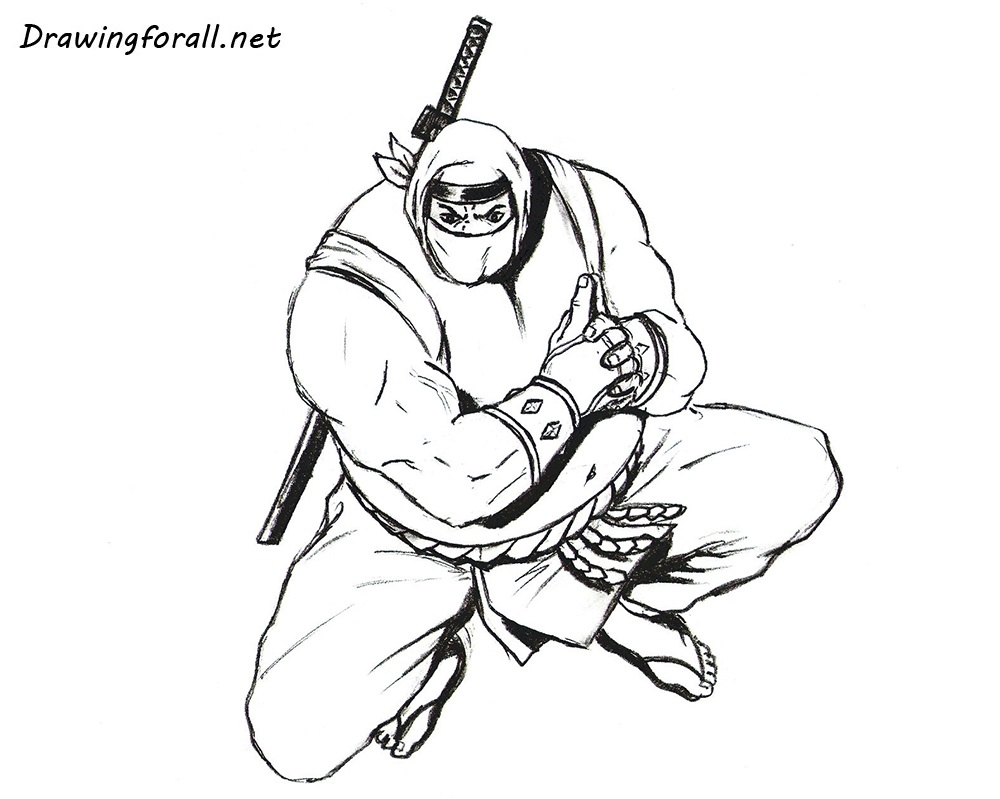 how to draw a sumo ninja step by step