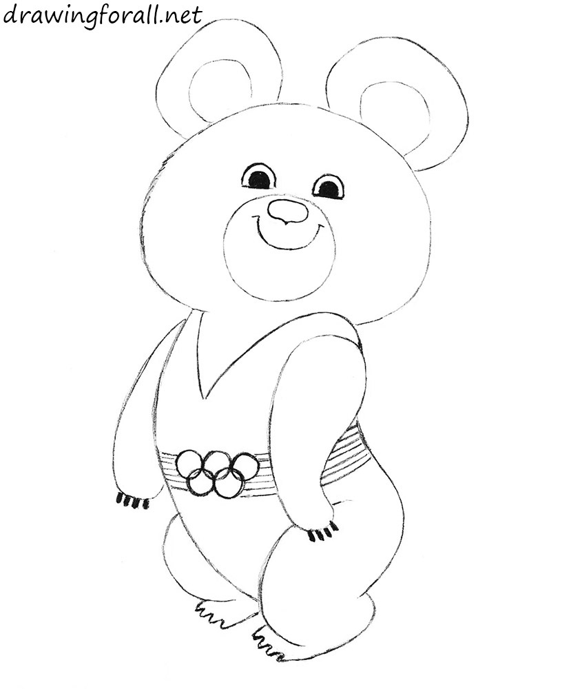 how to draw the Olympic Mishka step by step