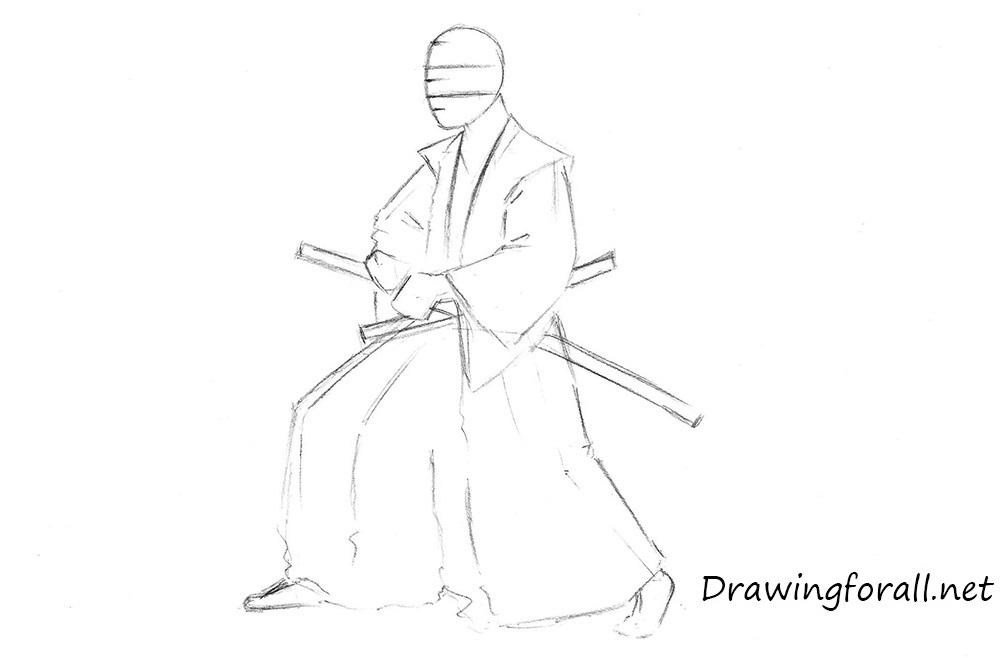 how to draw samurai step by step