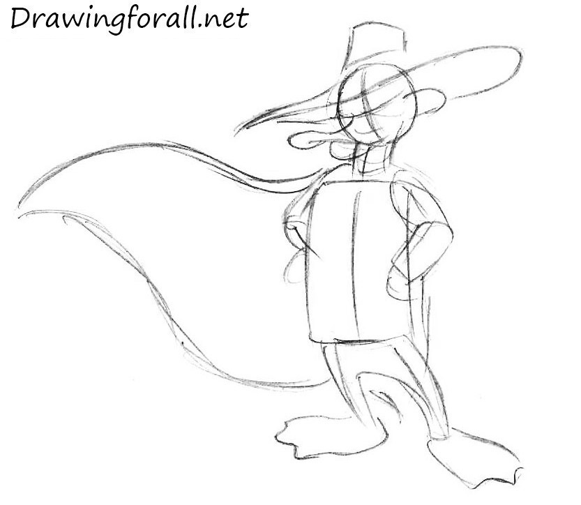 how to draw darkwing duck with a pencil
