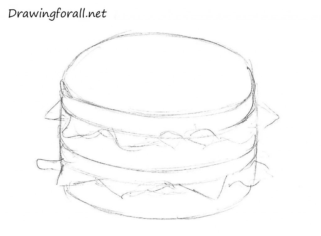 3  How to draw a burger fastfood