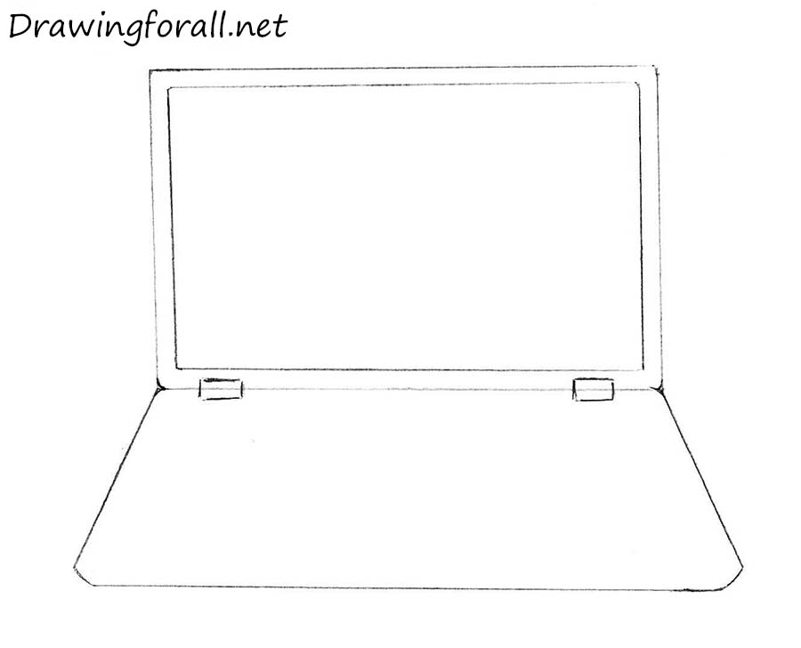 How to draw a laptop step by step