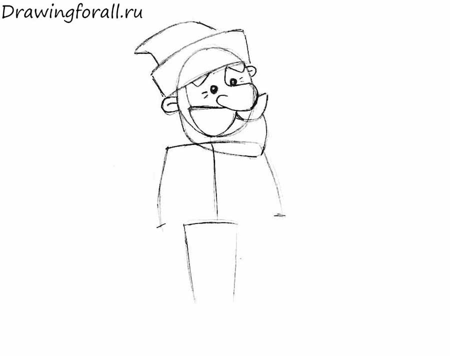 how to draw Ded Moroz for beginners