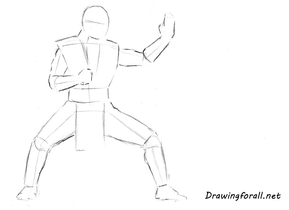 how to draw Sub-Zero from mortal kombat