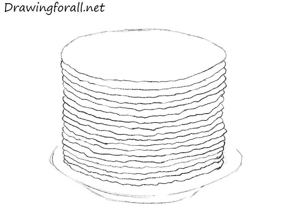 how to draw pancakes step by step