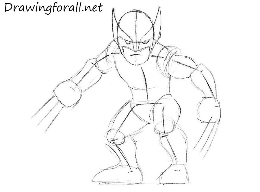 how to draw wolverine step by step for beginners - Sketch For Kids