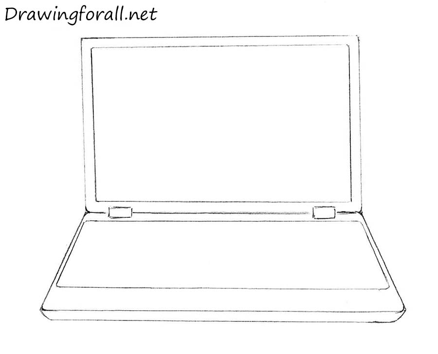 How to draw a laptop with a pencil