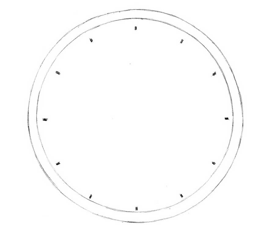how to draw a clock with a pincil