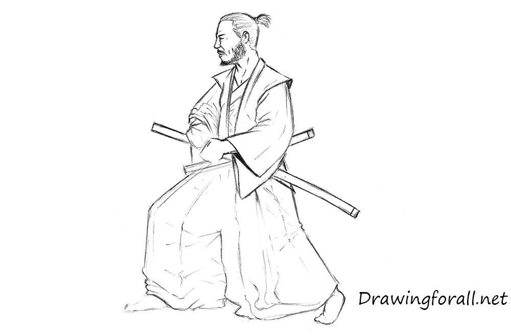 how to draw a realistic samurai step by step