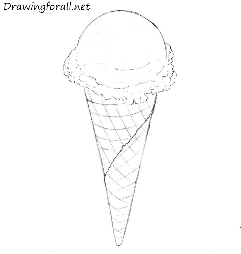 how to draw an ice cream cone with a pencil