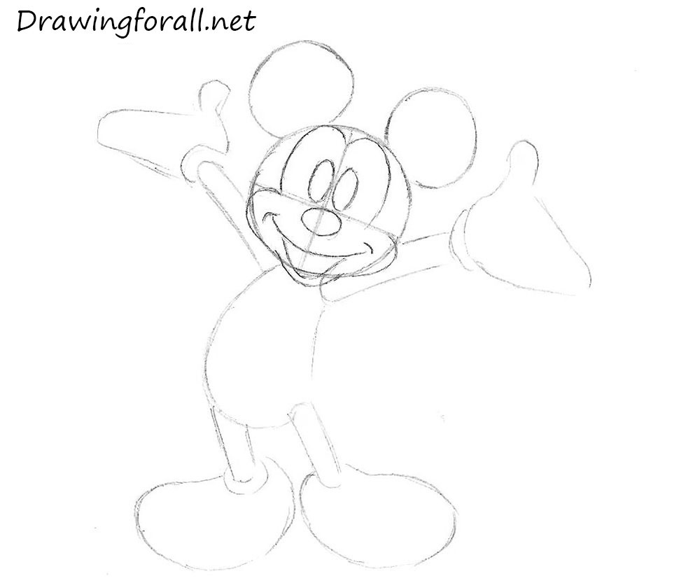 how to draw mickey mouse for kids