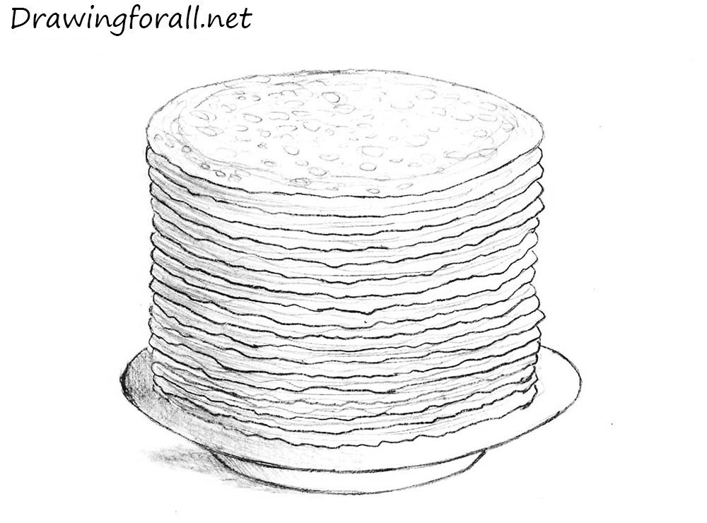 a stack of pancakes drawing