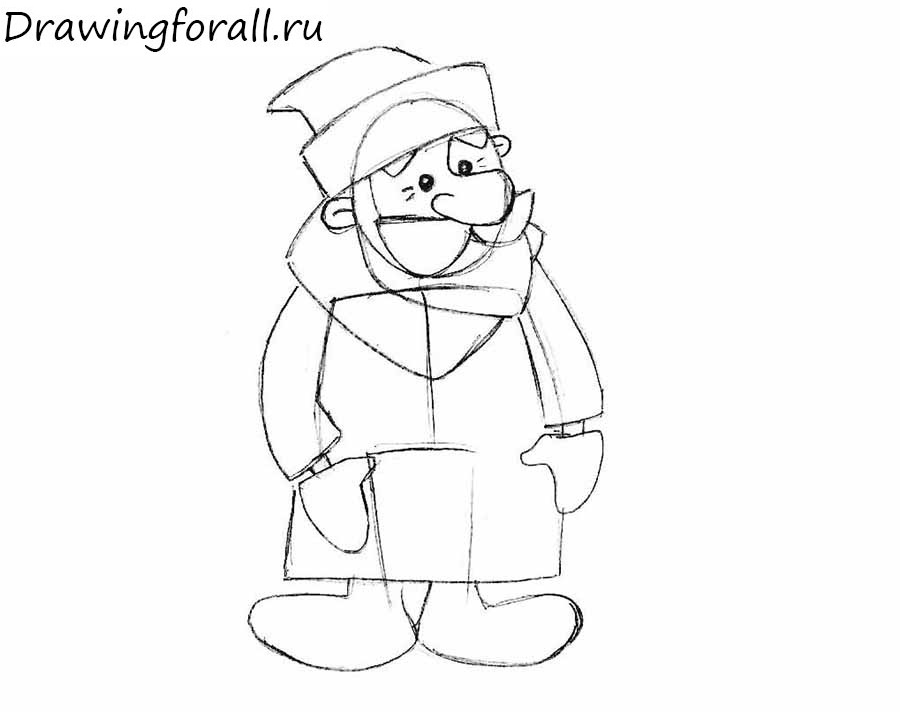how to draw Ded Moroz for the kids
