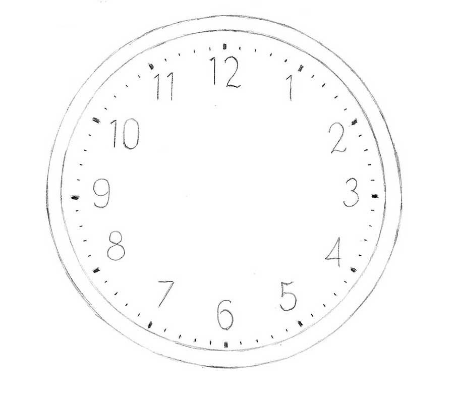 drawing of clocks