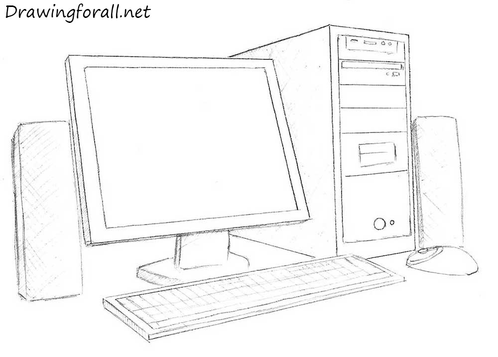 drawing of a computer and its parts pictures to pin on