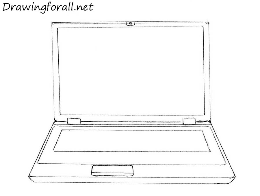 how to draw a laptop step by step for beginners
