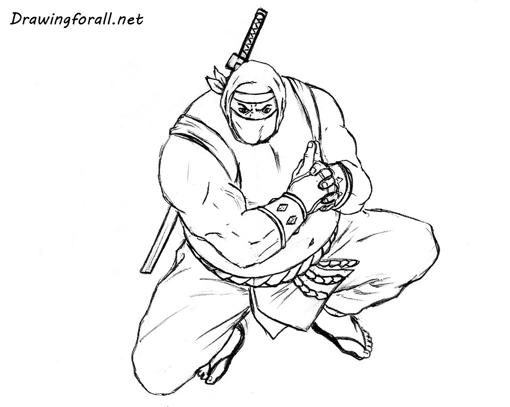 How to draw a sumo ninja with a pencil step by step