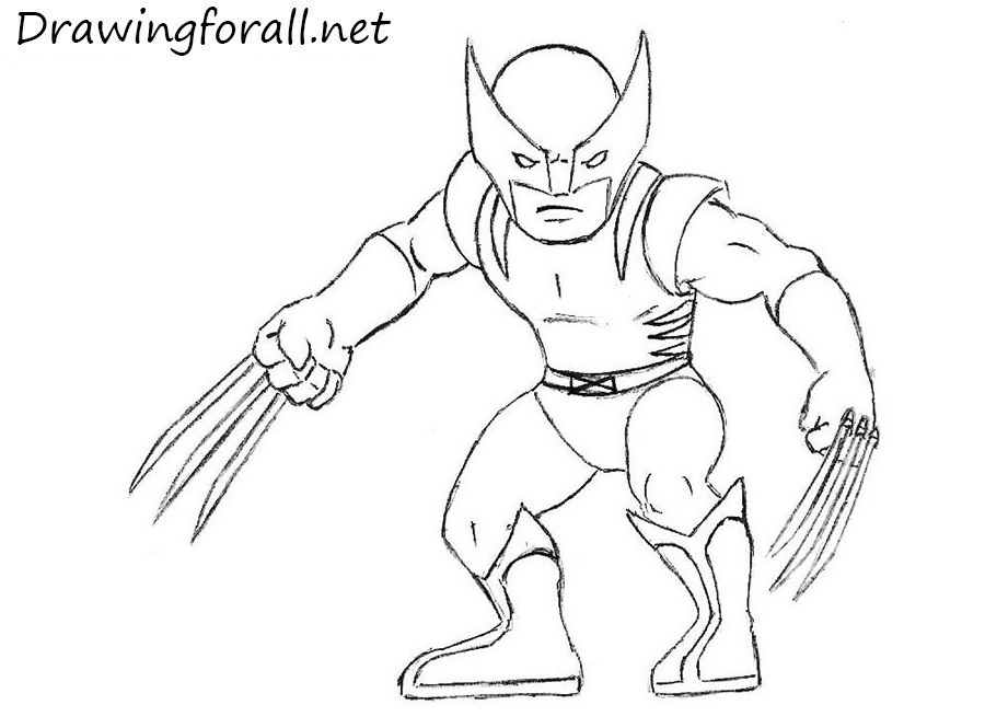 how to draw cartoon wolverine with a pencil - Drawing Sketch For Kids