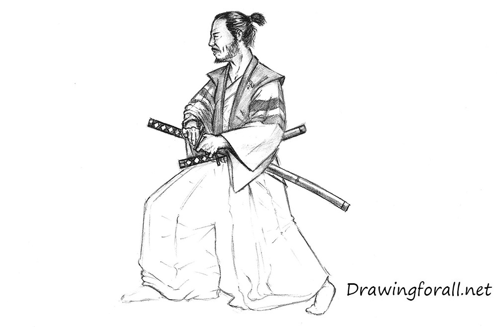realistic samurai drawing