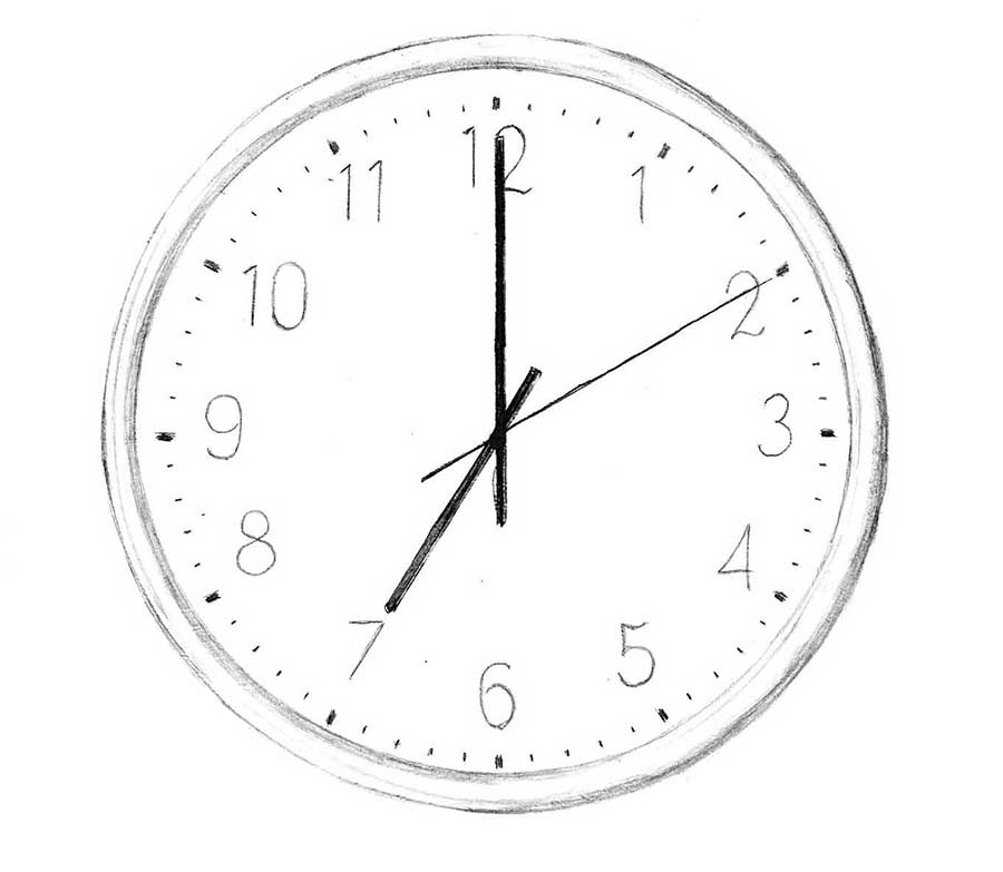 a clock drawing pencil