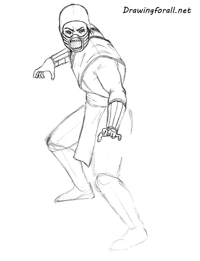 how to draw ninja from mortal kombat