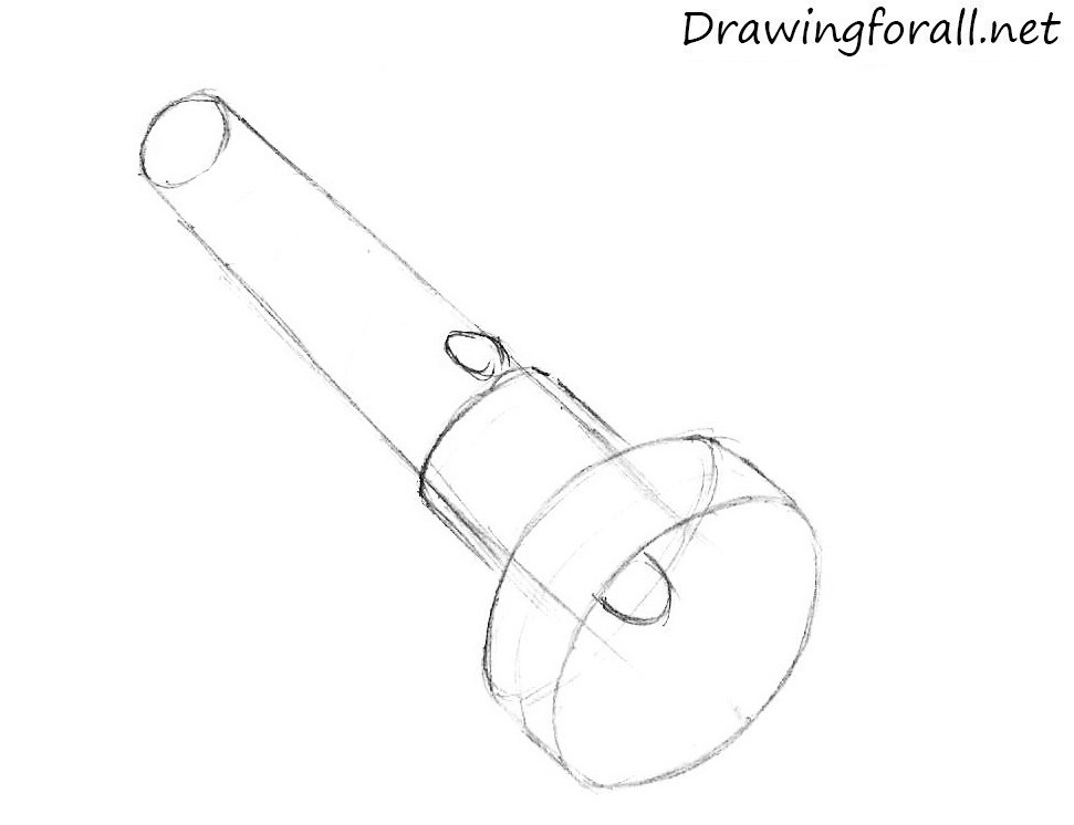 how to draw a flashlight with a pencil