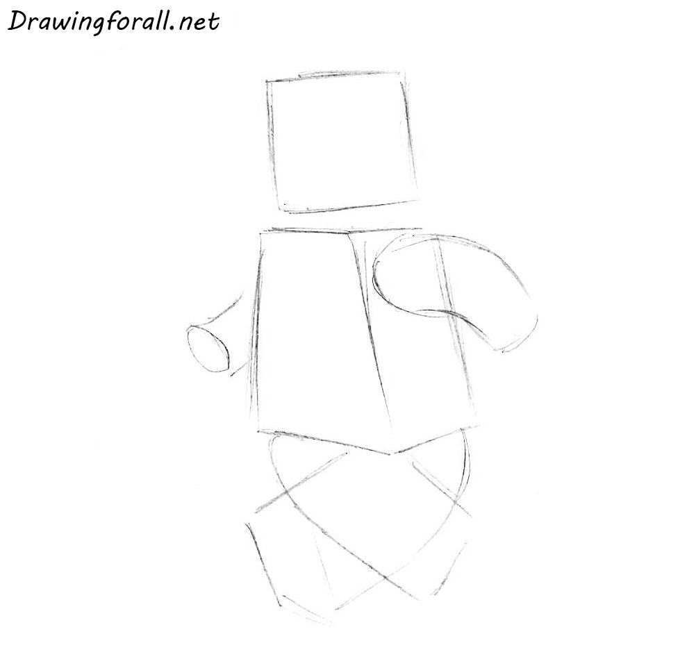 how to draw a lego man step by step