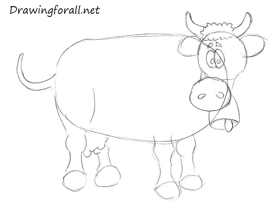 how to draw a cow for children