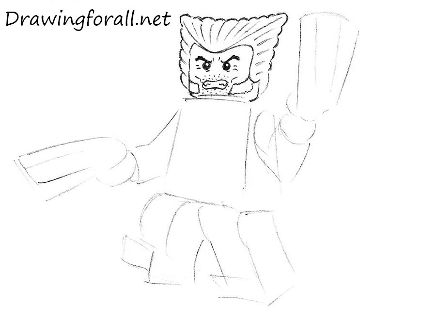 how to draw lego wolverine step by step