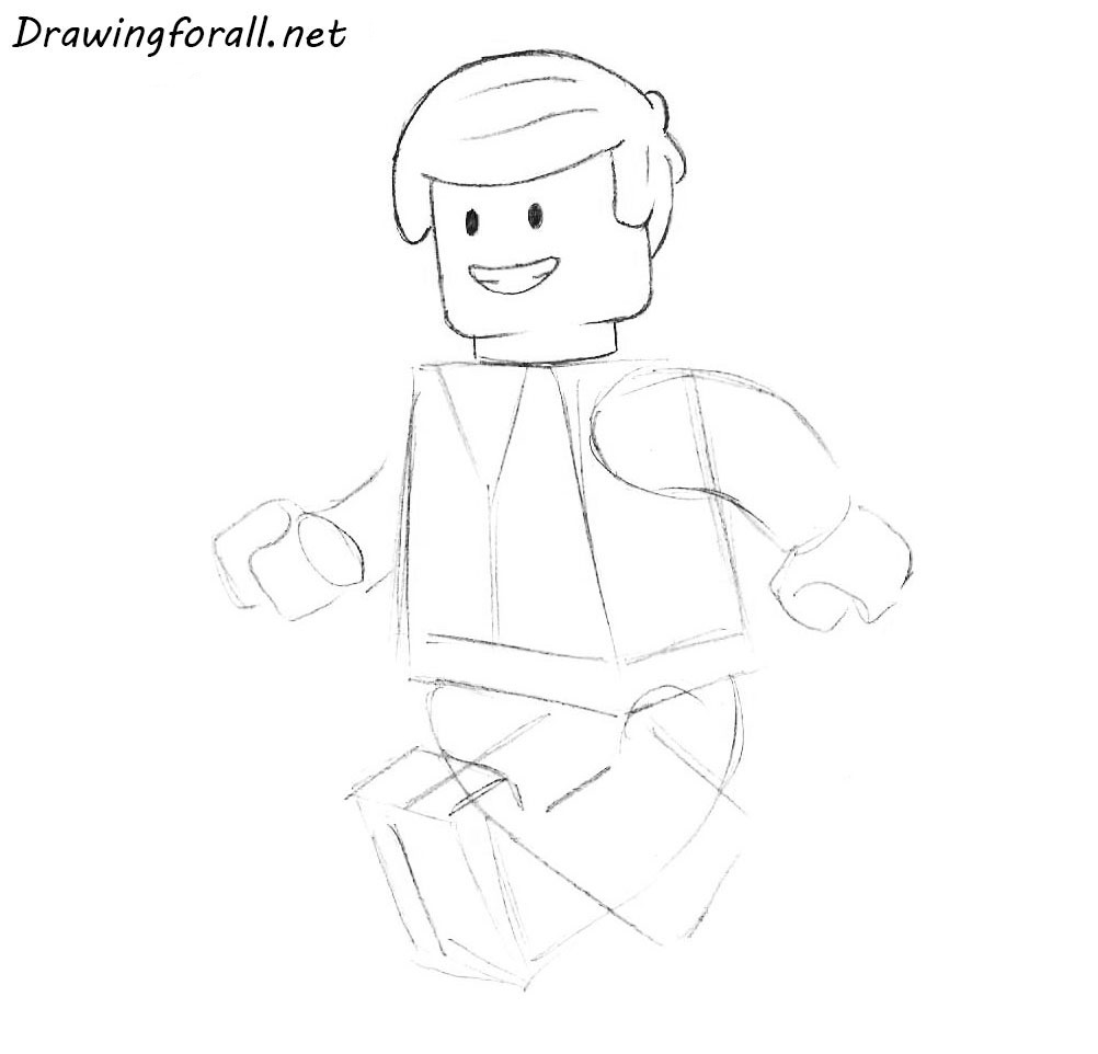 how to draw a lego man for begonners