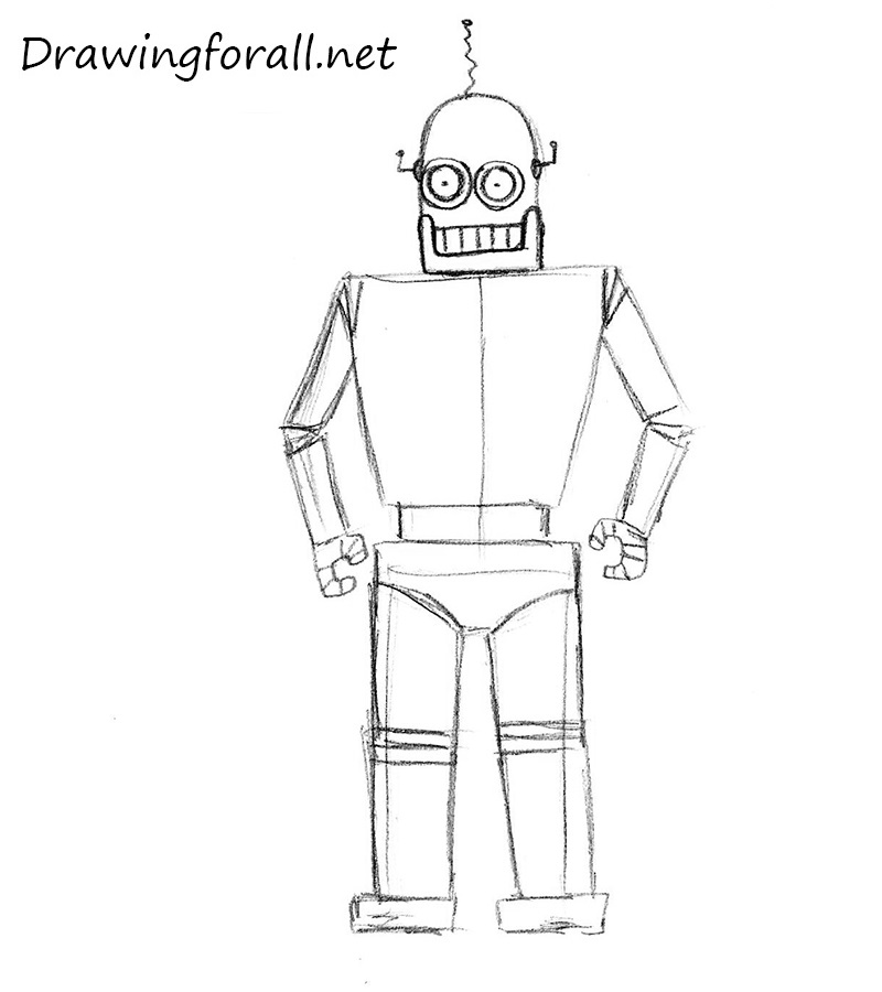 how to draw a robot for children