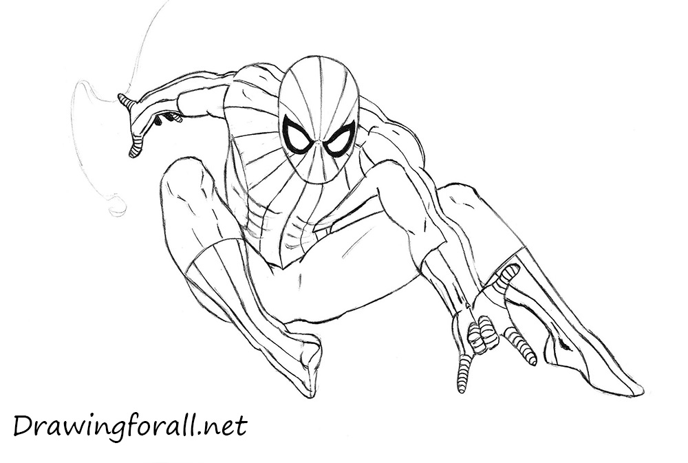 how to draw spider man with a pencil