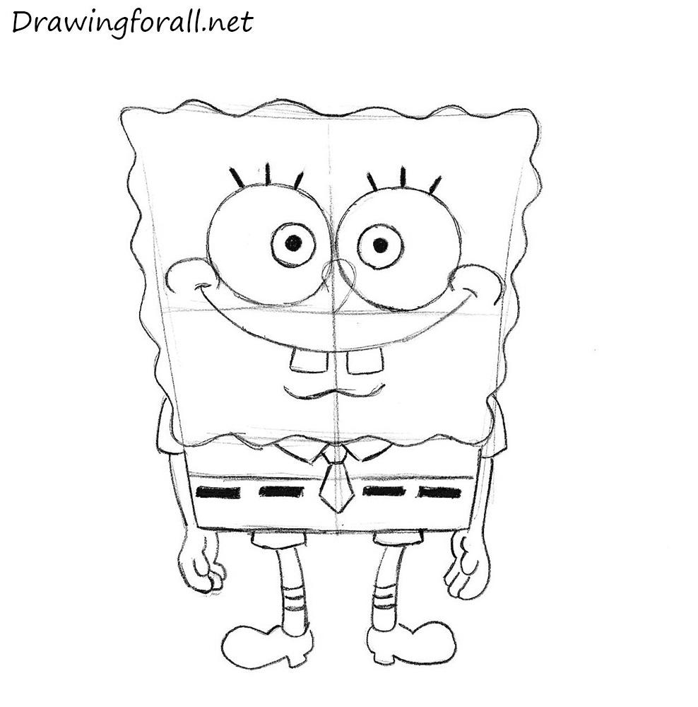 how to draw SpongeBob SquarePants for beginners