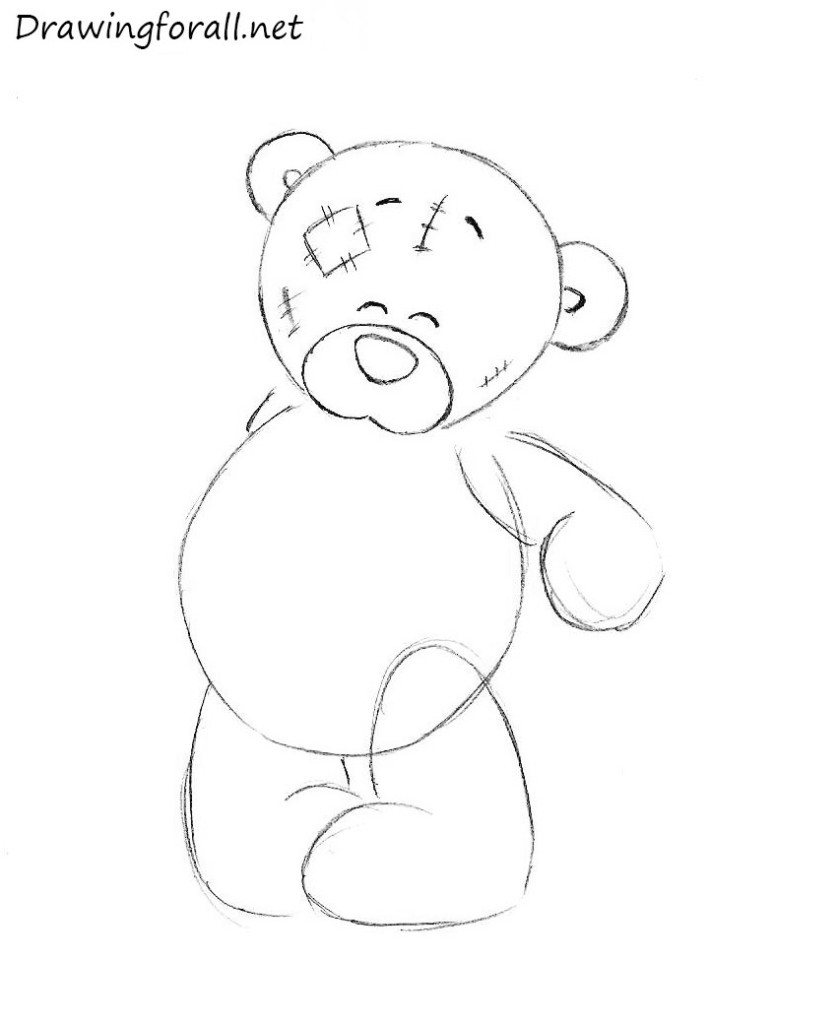 how to draw a teddy bear with a pencil