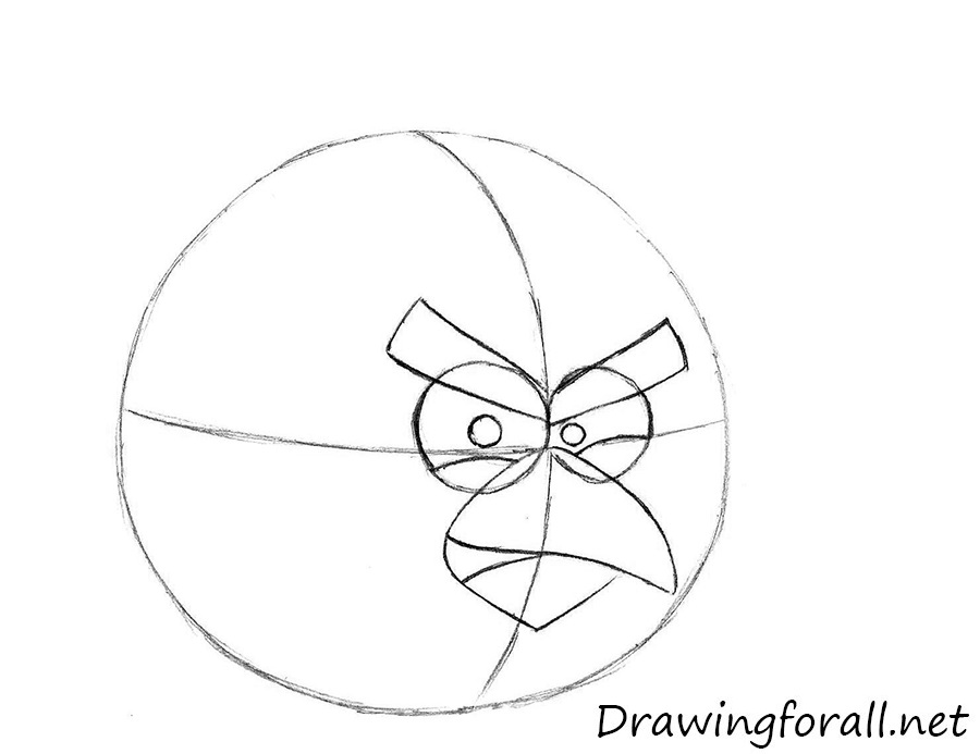how to draw red bird from angry birds
