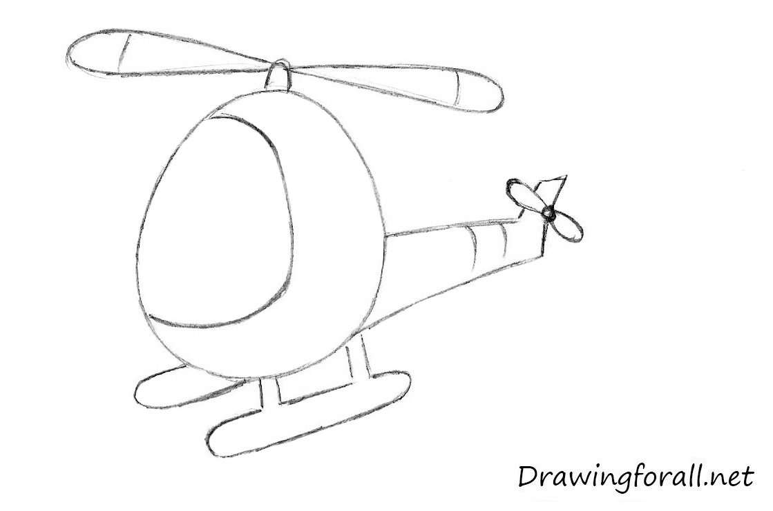 Line Drawing Helicopter : How to draw a helicopter for kids drawingforall