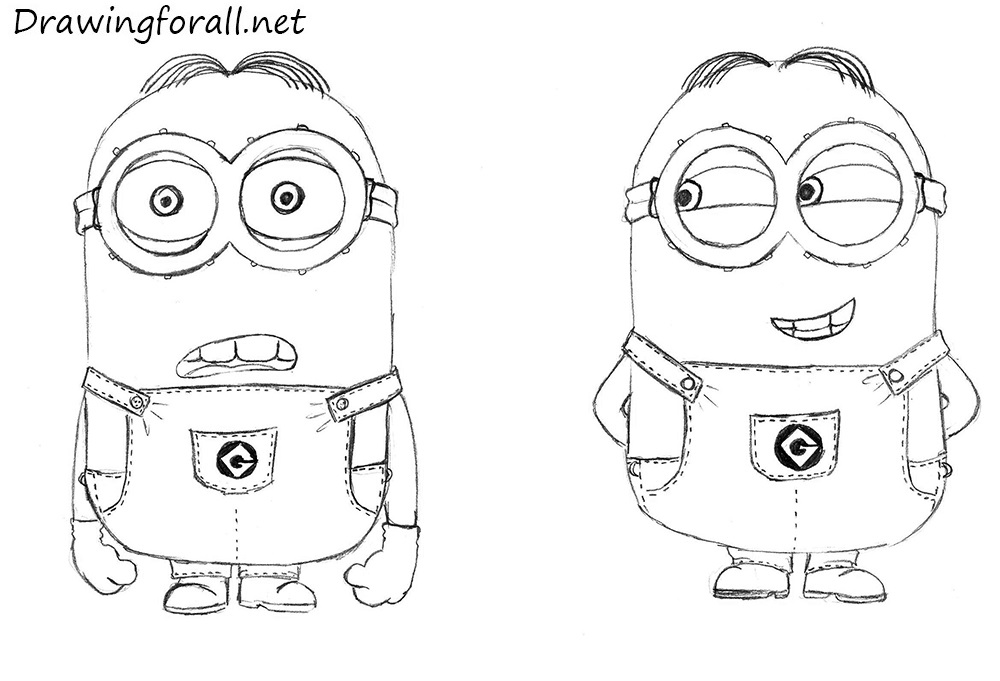 how to draw minions step by step