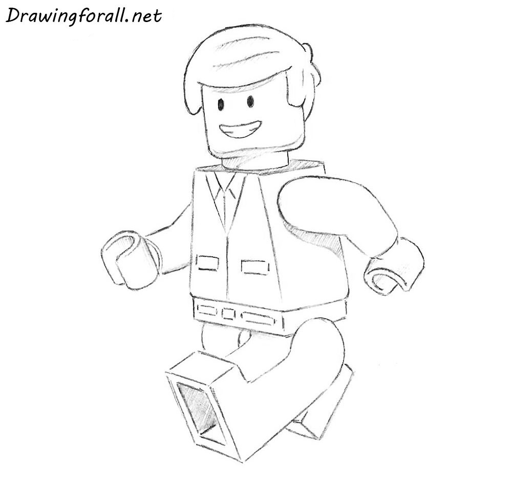 pencil drawing of a lego man