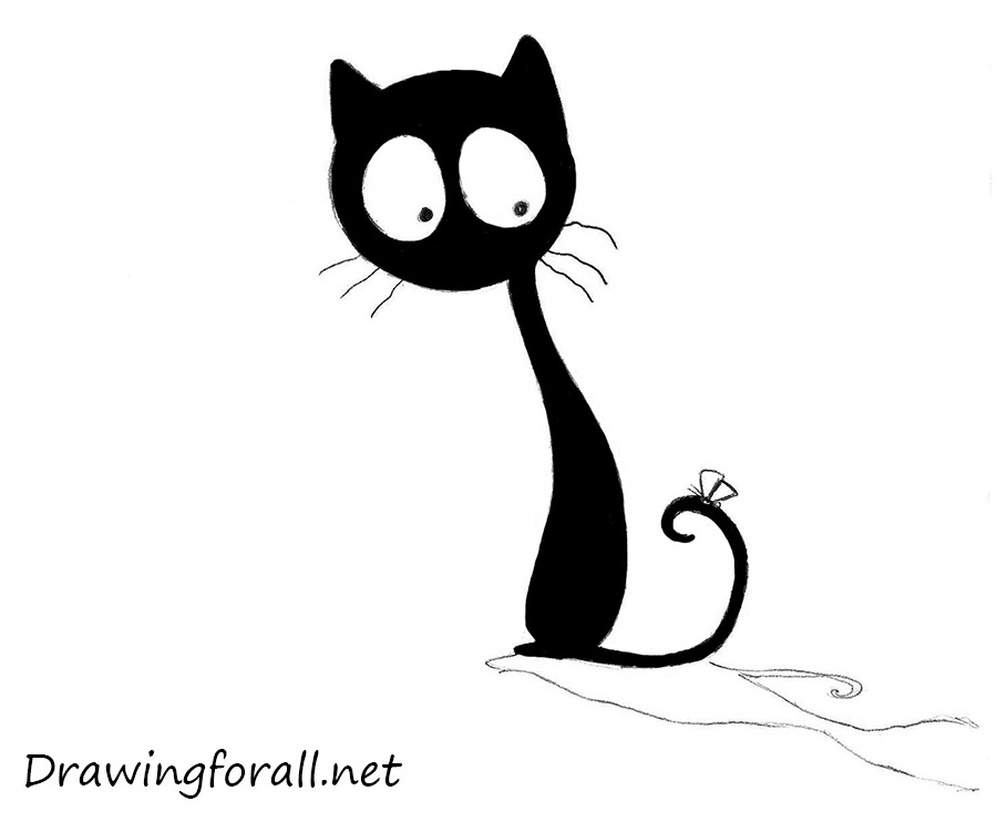 How to draw a cartoon cat for children