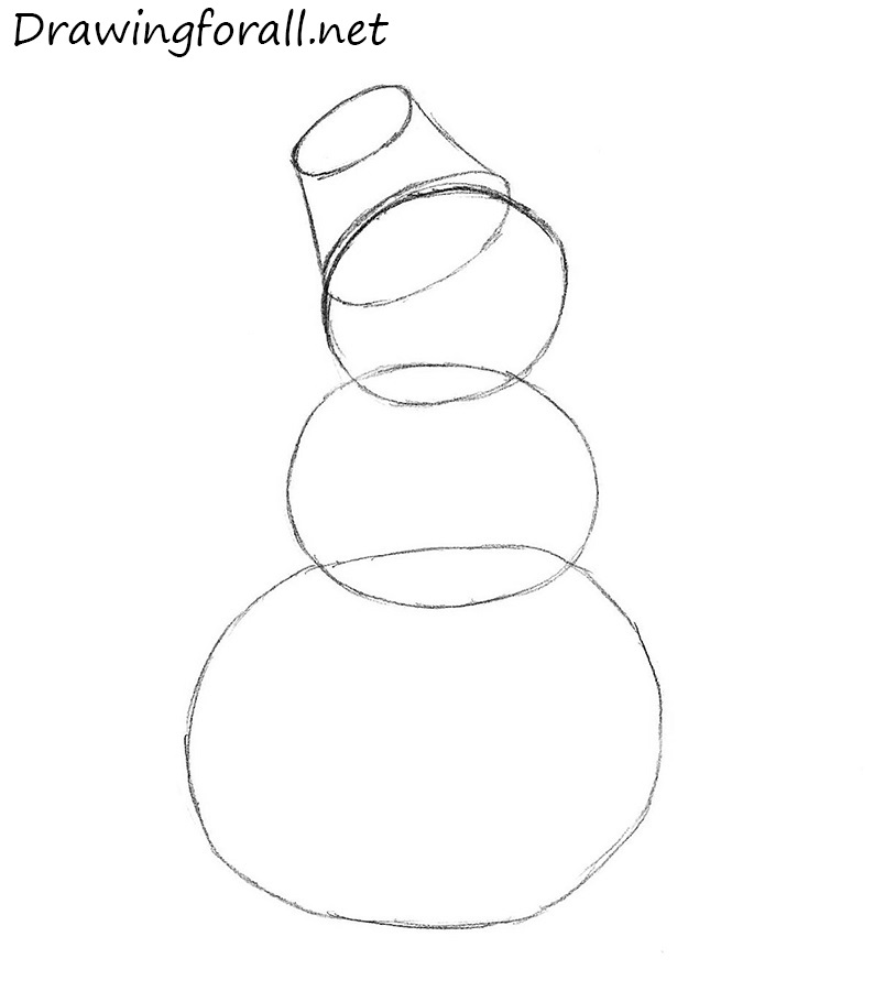 how to draw a snowman with a pencil