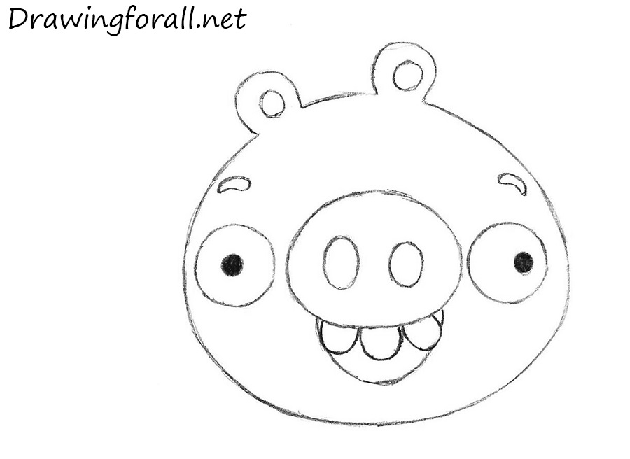 How to draw pig from angry birds ste by step