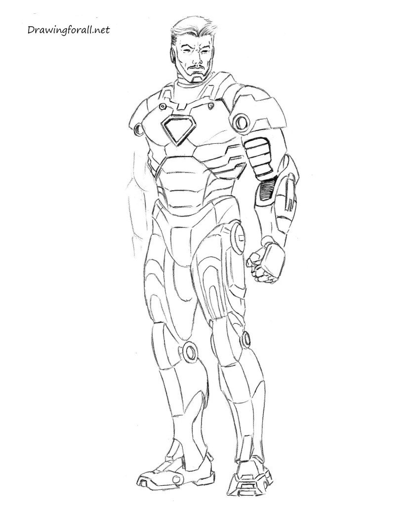 how 2 draw iron man easy