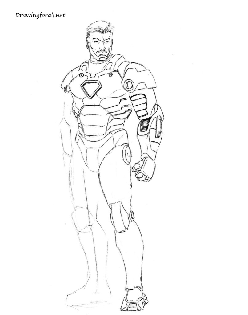 how 2 draw iron man step by step